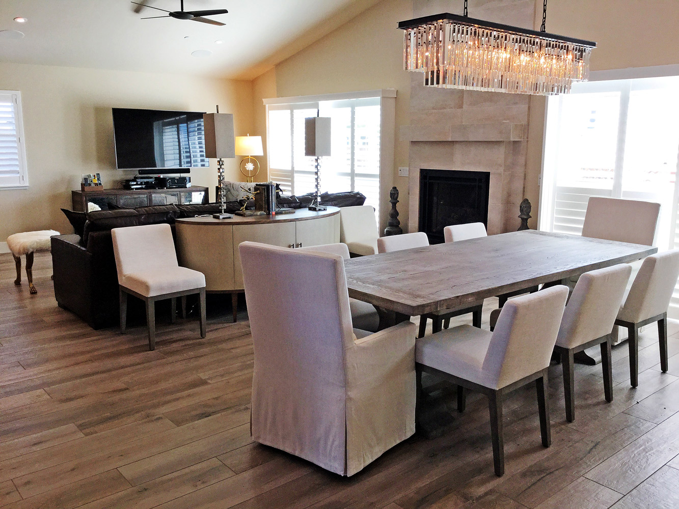 Great room in home rebuilt after 2017 wildfires in the Coffey Park neighborhood in Santa Rosa CA